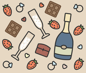 set of vector icons engagement, champagne, chocolate, strawberry, ring, glasses