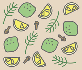 set of vector icons: rosemary, clove, lime, lemon