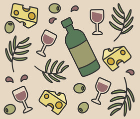 set of vector icons, bottle of wine, olives, cheese, wine glasses
