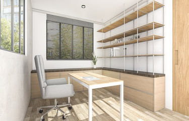 3d rendering wood working room with outdoor atmosphere