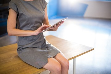 Midsection of businesswoman using digital tablet