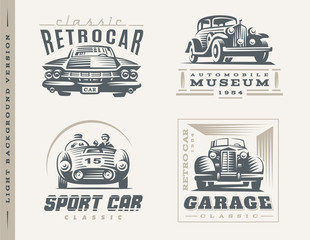 Classic cars illustrations on light background