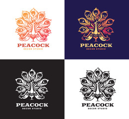 Illustration peacock, set logo design.