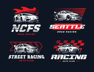 Sport car logo illustration on dark background.