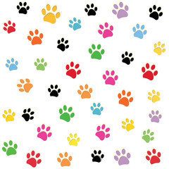 Colorful paw prints pattern vector illustration