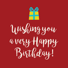 Red Happy Birthday greeting card with a yellow wrapped gift