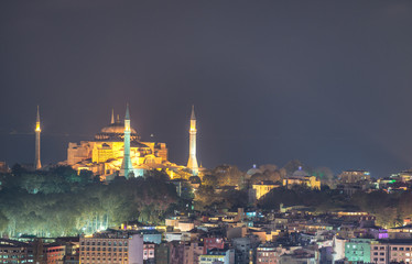 Aerial view of Blue Mosque at night, Istanbul
