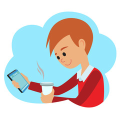 Vector illustration in flat style. Icon boy with phone and coffee in hands.