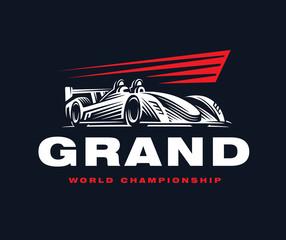 Sport car logo on dark background.