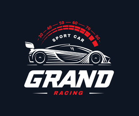 Racing car logo on dark background.