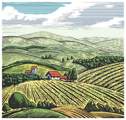 Foto op Textielframe Khaki Rural landscape in graphic style, hand drawn and converted to vector Illustration.