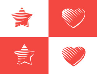 Star and heart Icon vector.