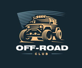 Off road car logo illustration.