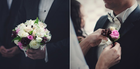 Two in one picture of a wedding bouquet and boutonniere