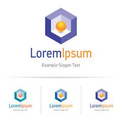 Orange sphere in purple cube, geometric logo for your business company, vector design