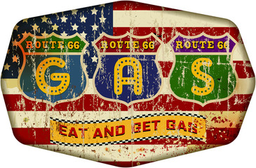 route 66 gas station sign, retro style, vector illustration