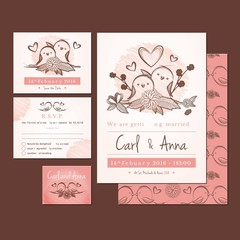 Weeding invitation with hand drawn birds