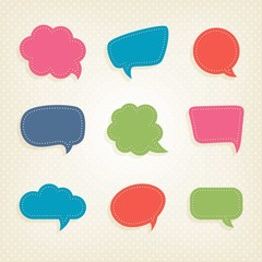Colorful speech bubbles in cut-out style