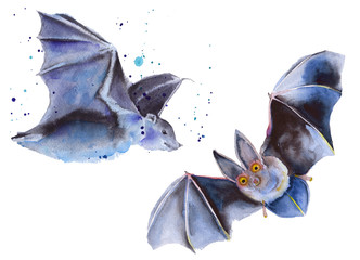 Flying mouse Halloween. Isolated. Watercolor illustration.