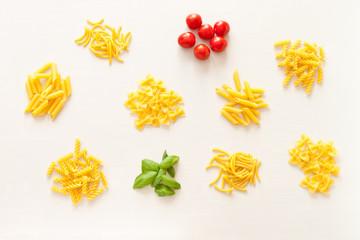 Draufsicht von verschiedenen Pastasorten