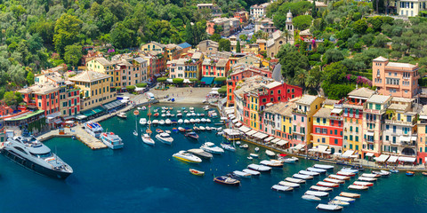 Aerial panoramic view of picturesque harbour of Portofino fishing village on the Italian Riviera, Liguria, Italy.