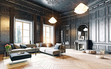 black living room Wall mural