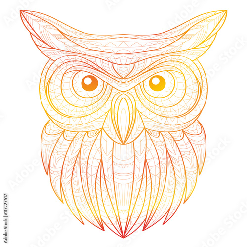 3388764dac380 Hand drawn doodle outline owl illustration. Decorative in African indian  totem Ethnic tribal aztec design. Sketch for adult antistress coloring page.