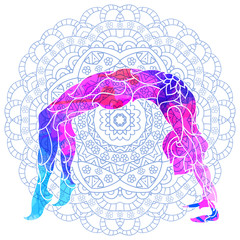yoga pose over ornate round mandala pattern.