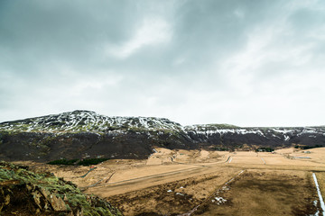 Iceland landscape in cloudy weather