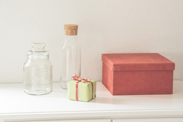 Gift boxes and glass bottles