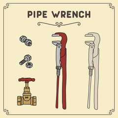 Vector set isolated pipe wrench with valve and bolt. Icon pipe wrench old style.