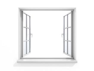 Open white wooden window