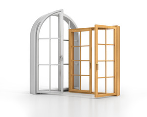 Two wooden windows isolated on a white background.