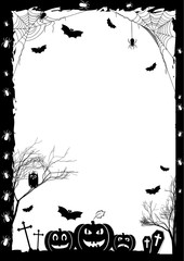 Holiday card on theme of Halloween. Black frame with pumpkins, bats and spiders on gossamers at cemetery on white. Trick or treat