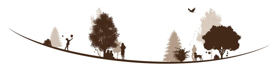 Herbstliche Landschaft | Menschen im Park