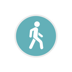 Pedestrians only road sign icon in flat style on a white background
