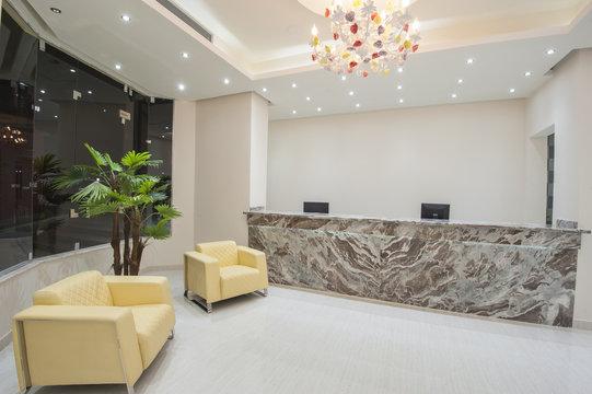 Interior of a luxury hotel lobby reception area