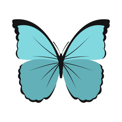 Blue butterfly icon in flat style on a white background