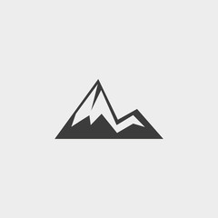 Mountain icon in a flat design in black color. Vector illustration eps10
