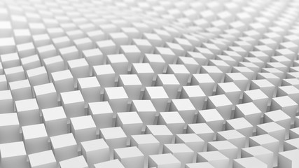 Checkered surface of white cubes waving. 3D render