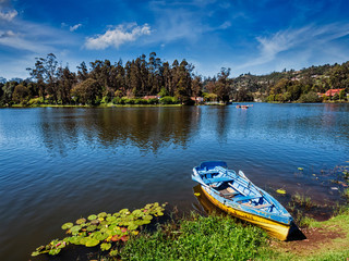 Fotomurales - Boat in lake