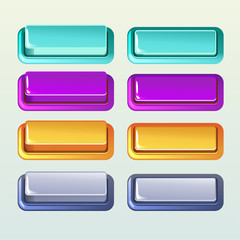 Colors Push Buttons For A Game Or Web Design Element, Set4