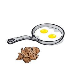 fried egg simple image. food image. sketch vector illustration.