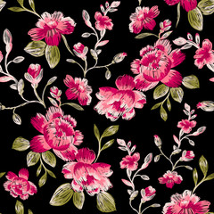 Seamless pattern of peonies. Immitation embroidery.
