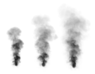 Realistic black smoke.Isolated on white background.