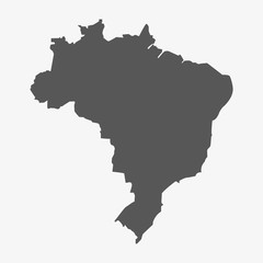 Brazil map in gray on a white background