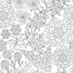 Seamless floral pattern in black and white colors