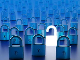Data access by computer firewall bypassing and network security concept, closed locks and one open padlock on blue background