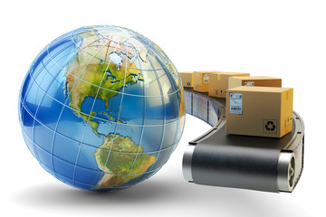 International package delivery and parcels shipping concept, global purchases transportation business, cardboard boxes on conveyor belt and Earth globe isolated on white background