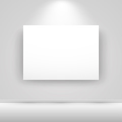 Blank horizontal white canvas on the wall with light